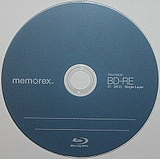 BD-RE or erasable/rewritable Blu-ray disc. This is a single-layer 25 GB disc 2x speed BD-RE from Memorex.