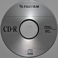 CD-R or recordable CD 700 MB media from Fujifilm. These discs cannot be erased and are used to store digital information.
