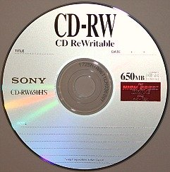 A Sony 650 MB CD-RW or an erasable or rewriteable CD that can be used to store digital information and then erased and reused many times.