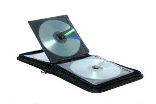 A disc wallet or album with plastic sleeves for storing CDs and other types of optical discs.