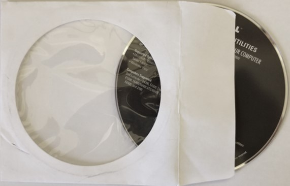 A DVD disc in a paper sleeve. Storing optical discs in a sleeve can lead to scratches and other physical damage and DVD disc repair may be necessary.