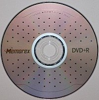 DVD+R or recordable DVD optical disc format. This is a single layer disc with 4.7 GB, 16x maximum recording speed, and manufactured by Memorex.