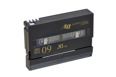 A miniDV camcorder tape for the storage of digital video.