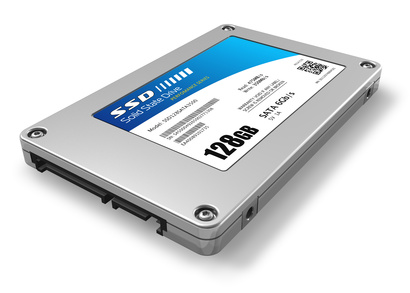 A solid state hard drive or solid state drive (SSD) for storing data. This storage device uses flash memory chips for information storage.