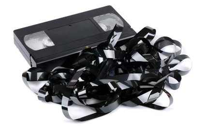 damaged vhs video cassette tape