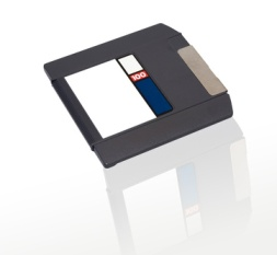 Zip disk 100 MB capacity in its jacket. The other capacities available are 250 MB and 750 MB.